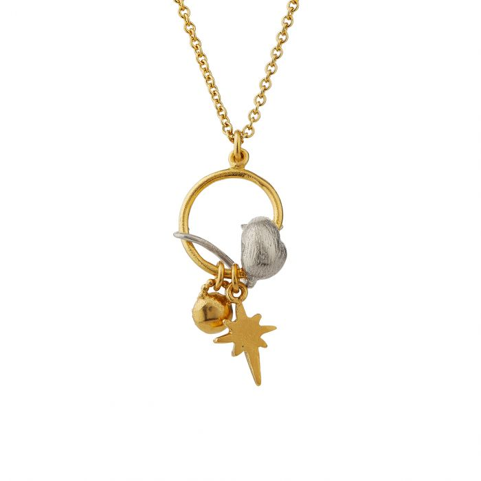 ALEX MONROE STOWAWAY MOUSE CHARM NECKLACE WITH GUIDING STAR & LONDON BLUE TOPAZ