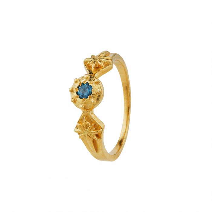 ALEX MONROE GUIDING STAR RING WITH LONDON BLUE TOPAZ