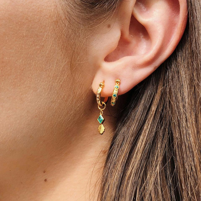 V BY LAURA VANN IRIS HOOPS WITH RHOMBUS CHARM IN MINT