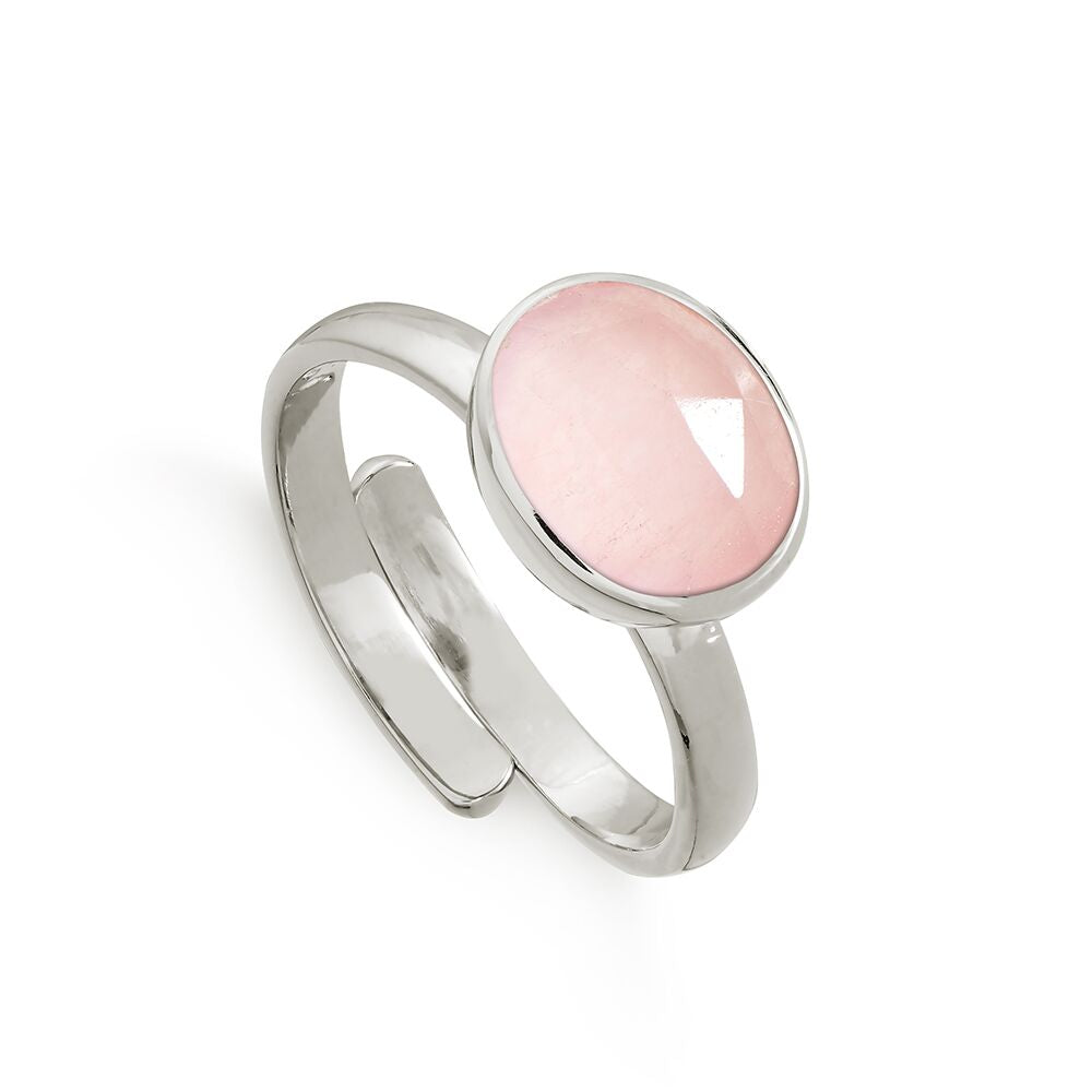 SVP ROSE QUARTZ ATOMIC MIDI ADJUSTABLE RING