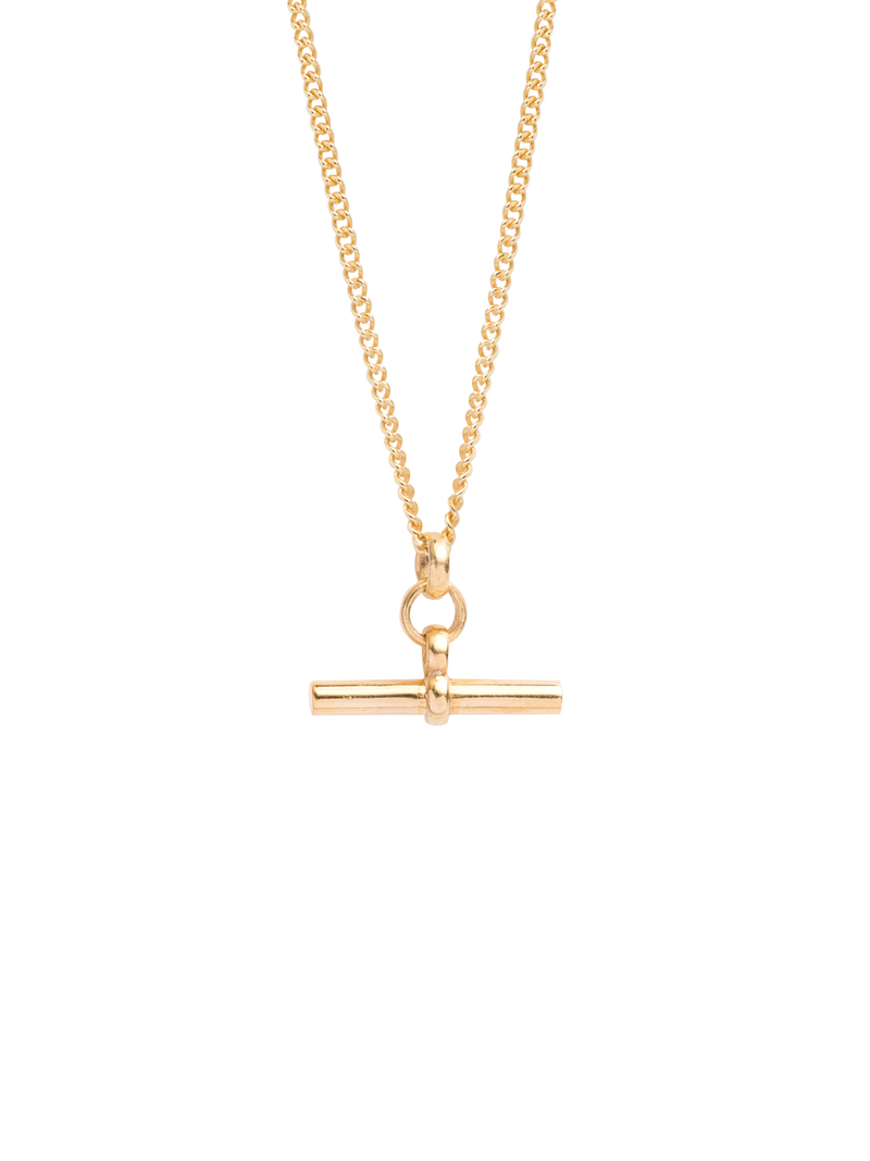 TILLY SVEAAS SMALL GOLD T BAR ON BELCHER CHAIN