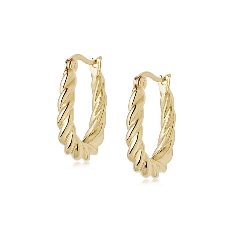 DAISY LONDON STACKED ROPE CREOLE HOOP EARRINGS