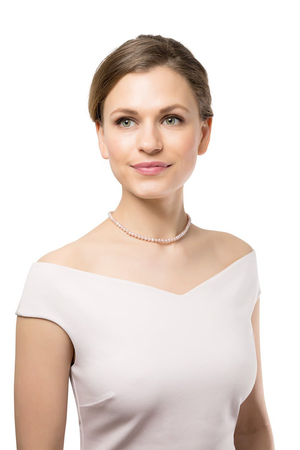 CLAUDIA BRADBY BUTTON PEARL CHOKER NECKLACE