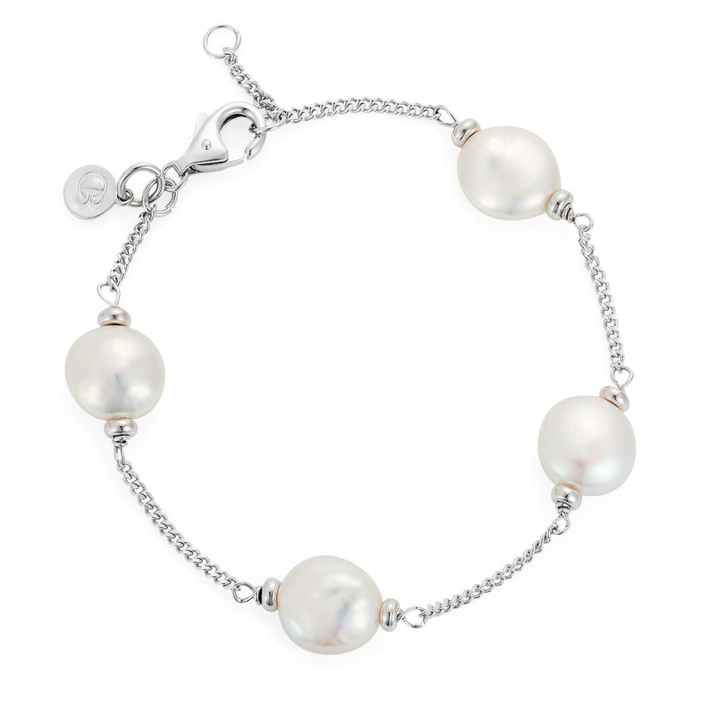 CLAUDIA BRADBY LUXE WHITE COIN PEARL BRACELET