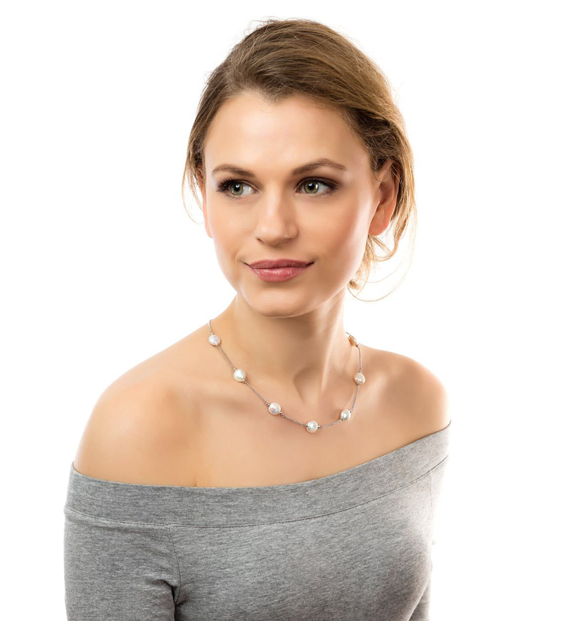CLAUDIA BRADBY LUXE WHITE COIN PEARL NECKLACE
