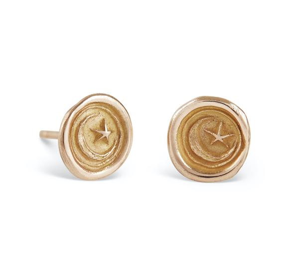 JESSICA DE LOTZ MOON WAX SEAL STUD EARRINGS