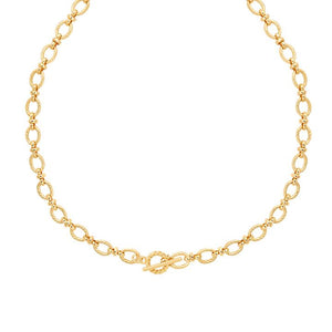 ASTRID & MIYU TEXTURED OVAL LINK T-BAR NECKLACE