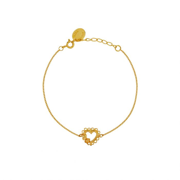 ALEX MONROE LACE EDGED HEART & FLOWER BRACELET