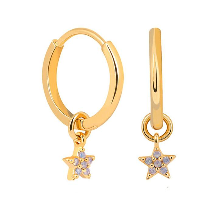 ASTRID & MIYU MYSTIC STAR PENDANT HOOP EARRINGS
