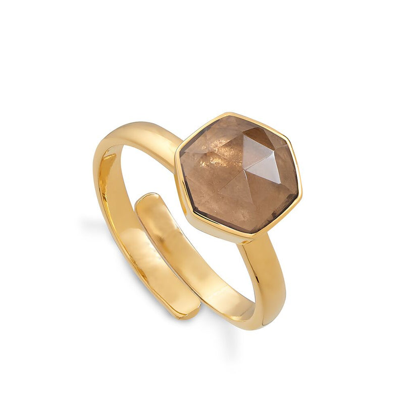 SVP SMOKY QUARTZ FIRESTARTER ADJUSTABLE RING