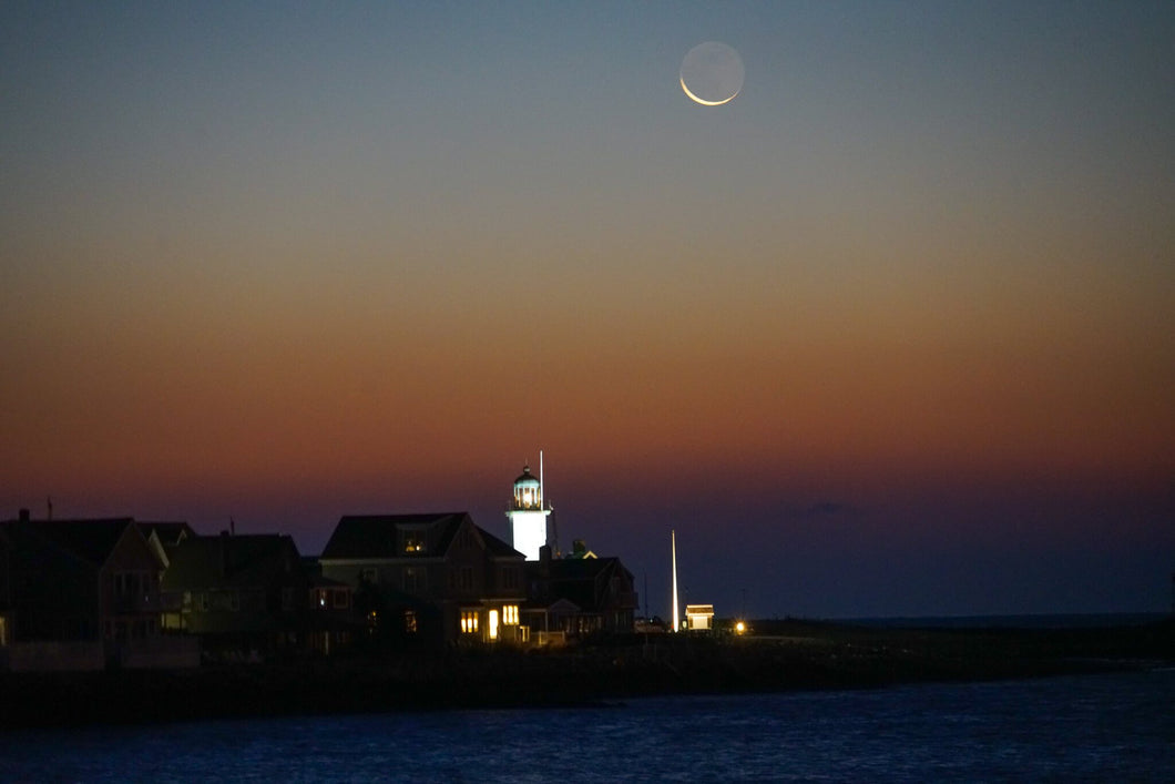 Crescent Moon Over Lighthouse