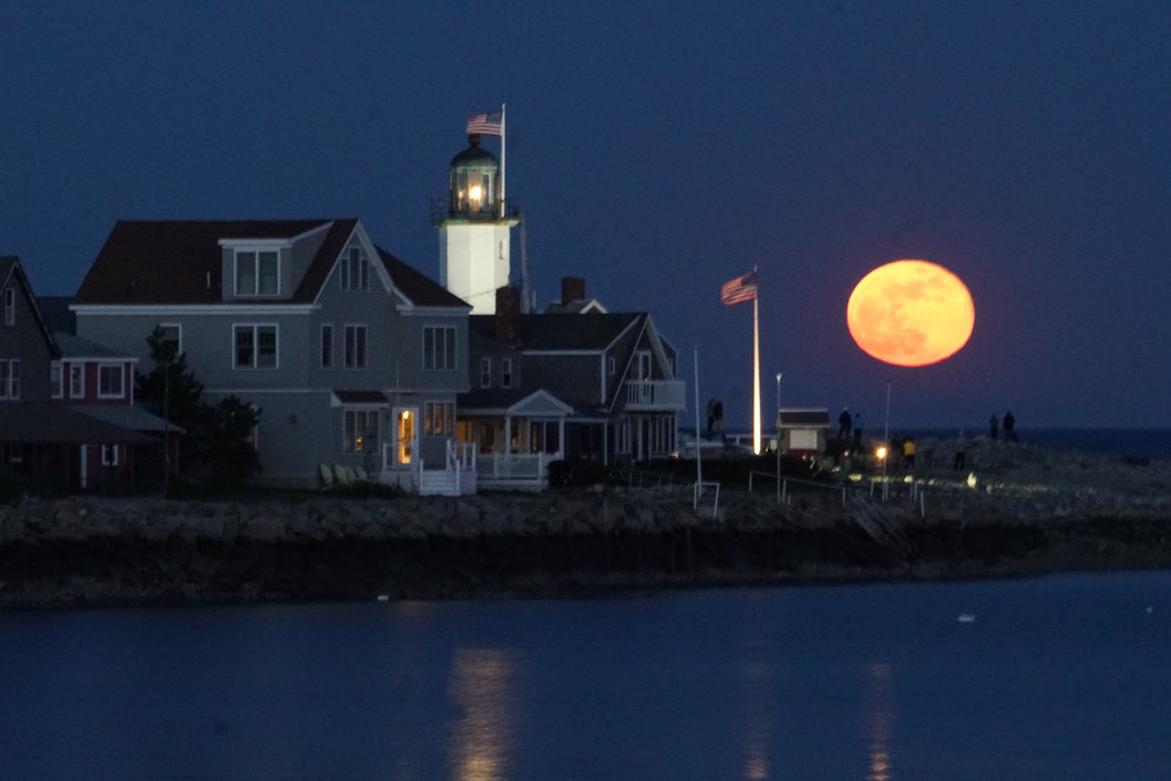 May Full Moon Over Scituate Lighthouse