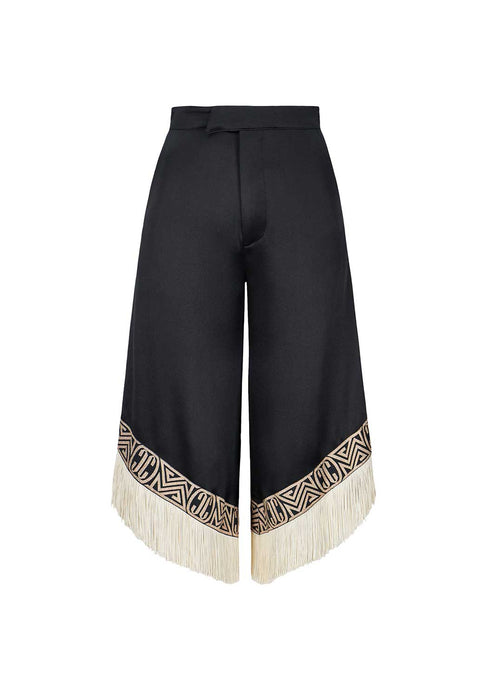 Black Fringe Pants