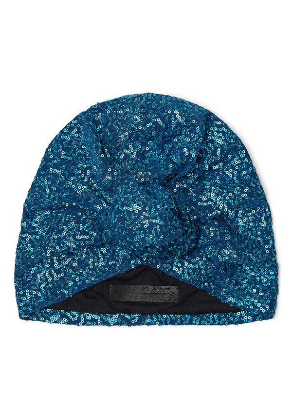 Blue Sequin Turban