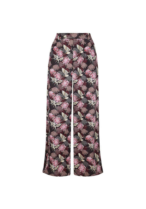 Burgundy Chrysants Flower Palazzo Pants
