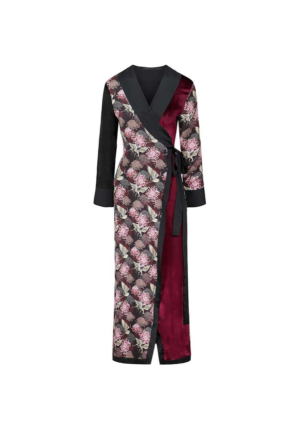 Burgundy Chrysants Flower Robe