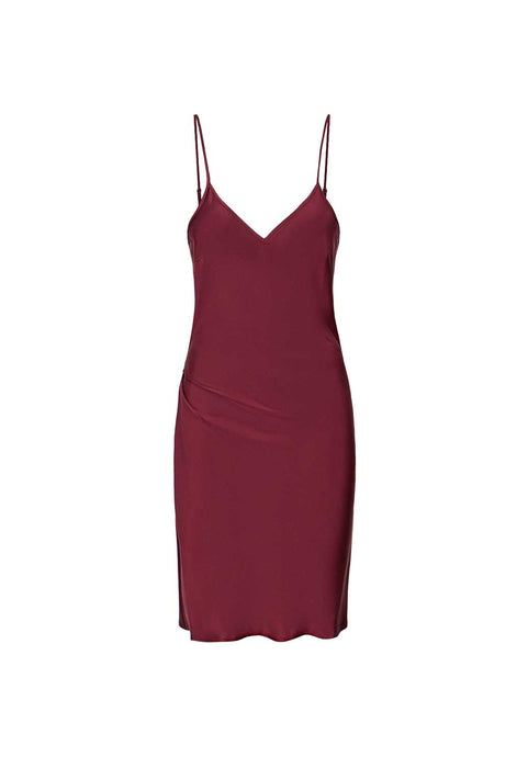 Burgundy Silk Slip Dress