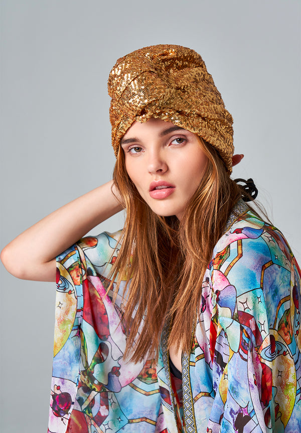 Gold Sequin Turban