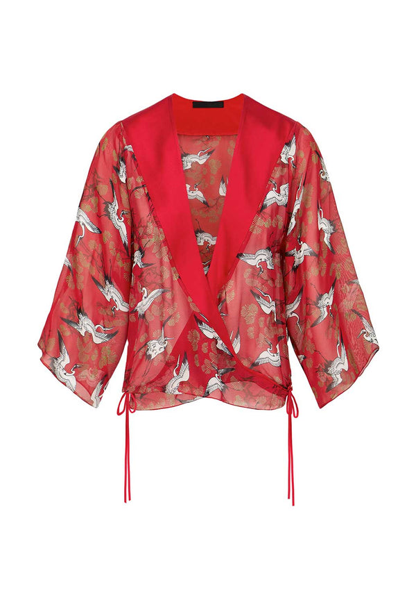 Red Crane Wrap Blouse