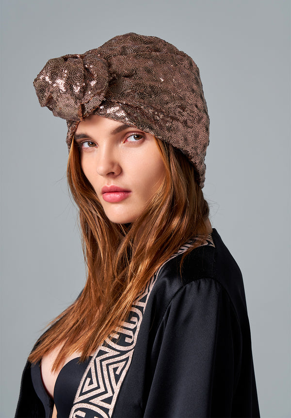 Rose Gold Sequin Turban