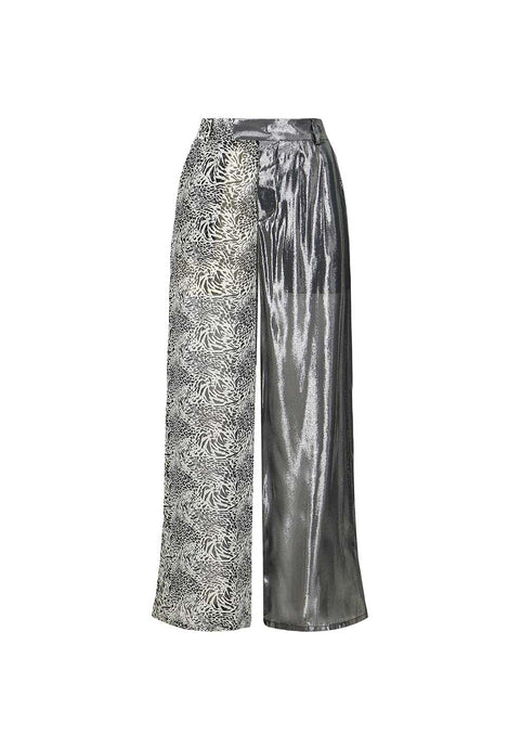 Silk Lamé/Animal Print Palazzo Pants