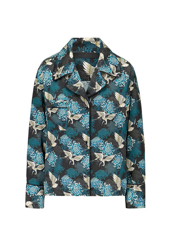 Teal Chrysants Flower Pajama Blouse