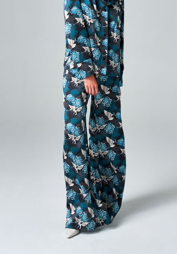 Teal Chrysants Flower Palazzo Pants