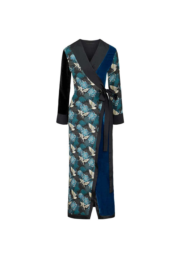 Teal Chrysants Flower Robe