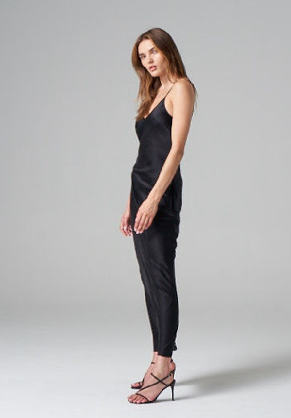 Washed Black Silk Maxi Dress