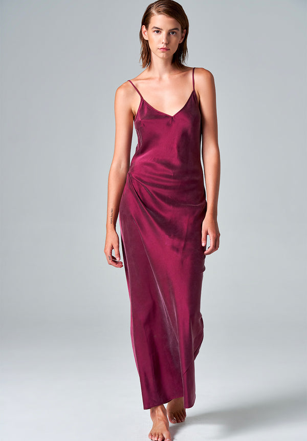 Washed Burgundy Silk Maxi Dress