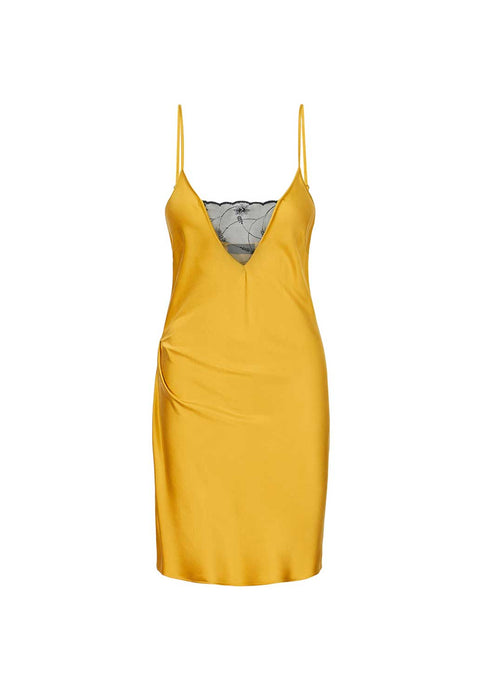 Washed Gold Silk Slip Dress