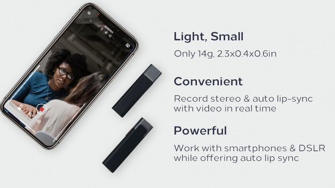 Light, Small mic(Only 14g, 2.3x0.4x0.6in),Convenient mic(Receive, mix, and transmit stereo in real time wirelessly),Powerful mic(Work with smartphones & DSLR while offering auto lip sync)