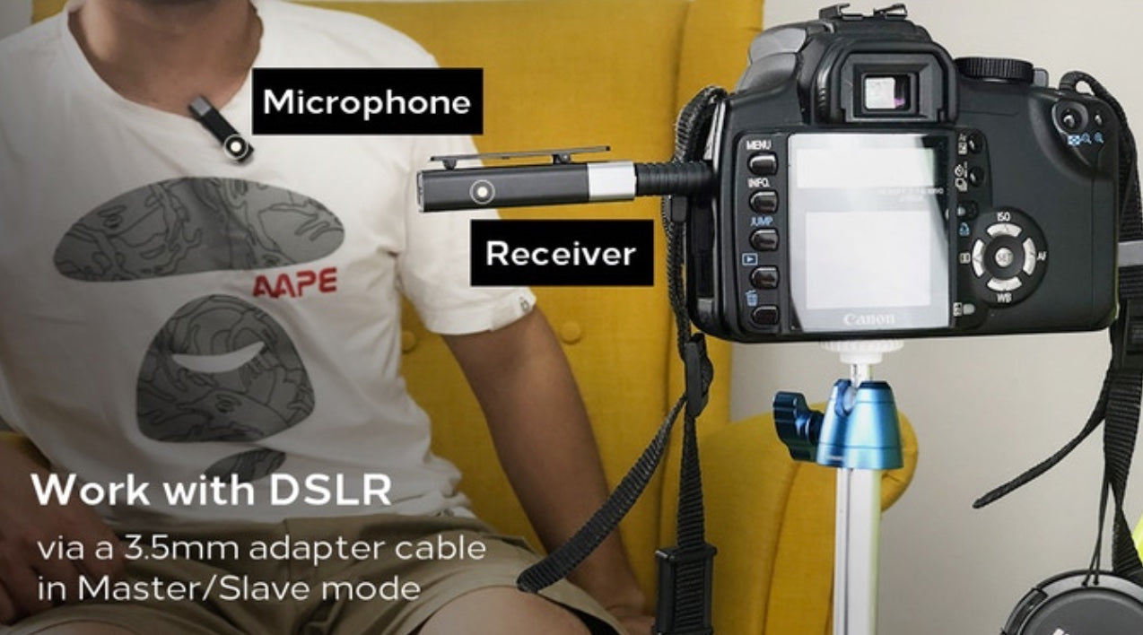 Work with DSLR -via a 3.5mm adapter cable in Master/Slave mode