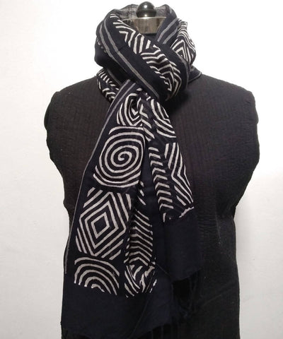 Black White geometric Handblock Printed Cotton Silk Stole
