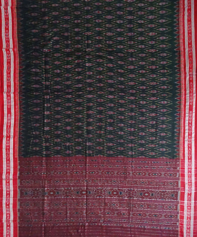 Nuapatna Handwoven Bottle Green Cotton Saree