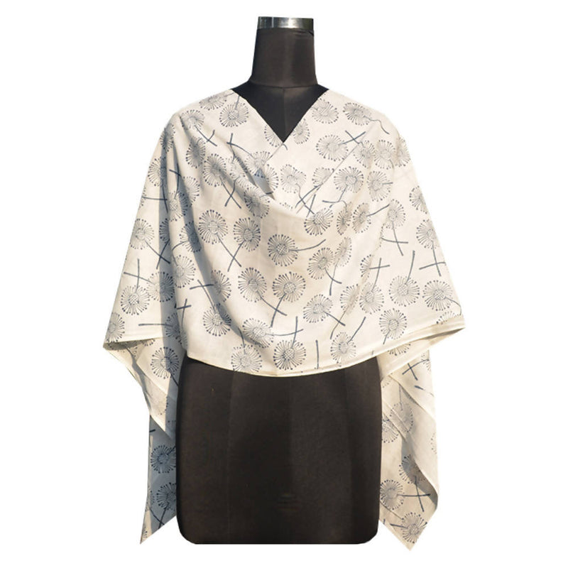 Off white handspun handwoven floral block printed cotton dupatta