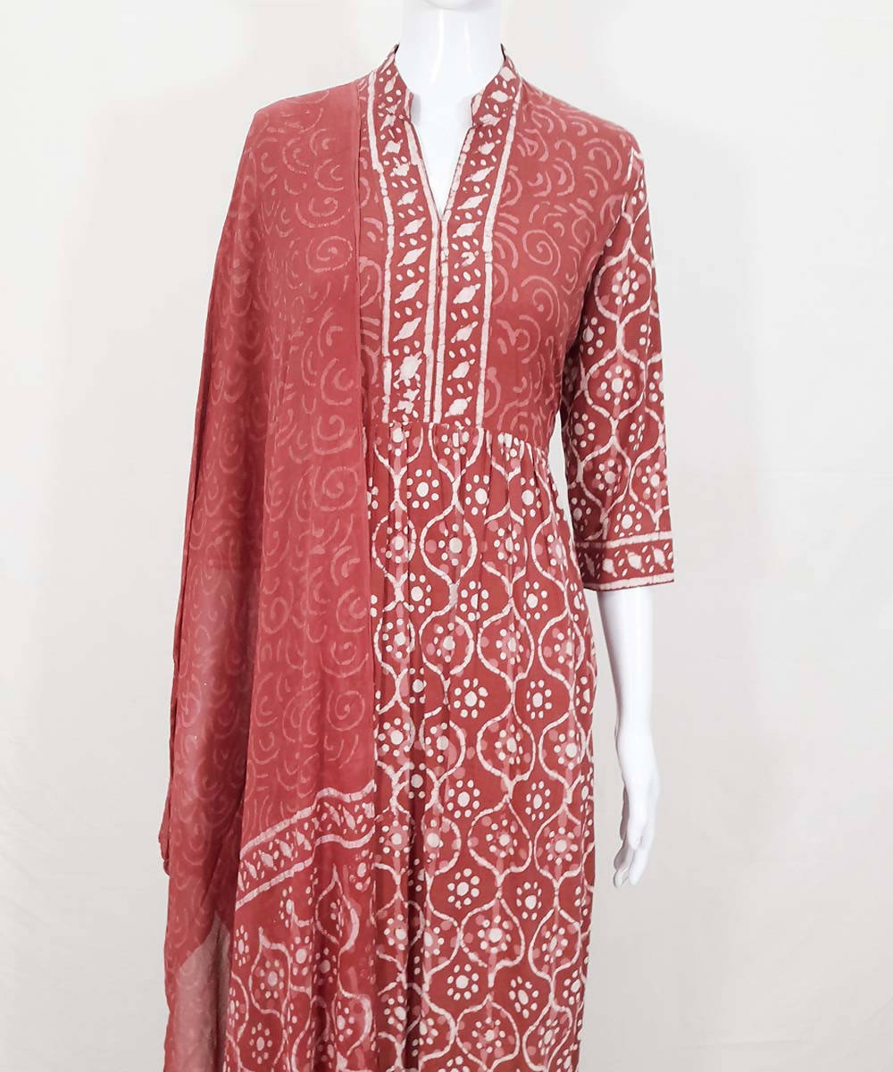 Red maroon handblock print cotton kurti pant and dupatta set