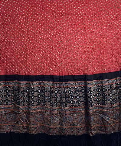 Peach and black Modal silk bandhani with ajrakh block print dupatta