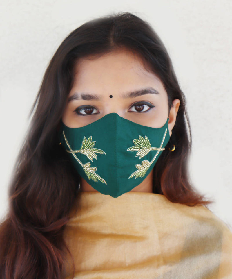 Green festive hand embroidery face mask