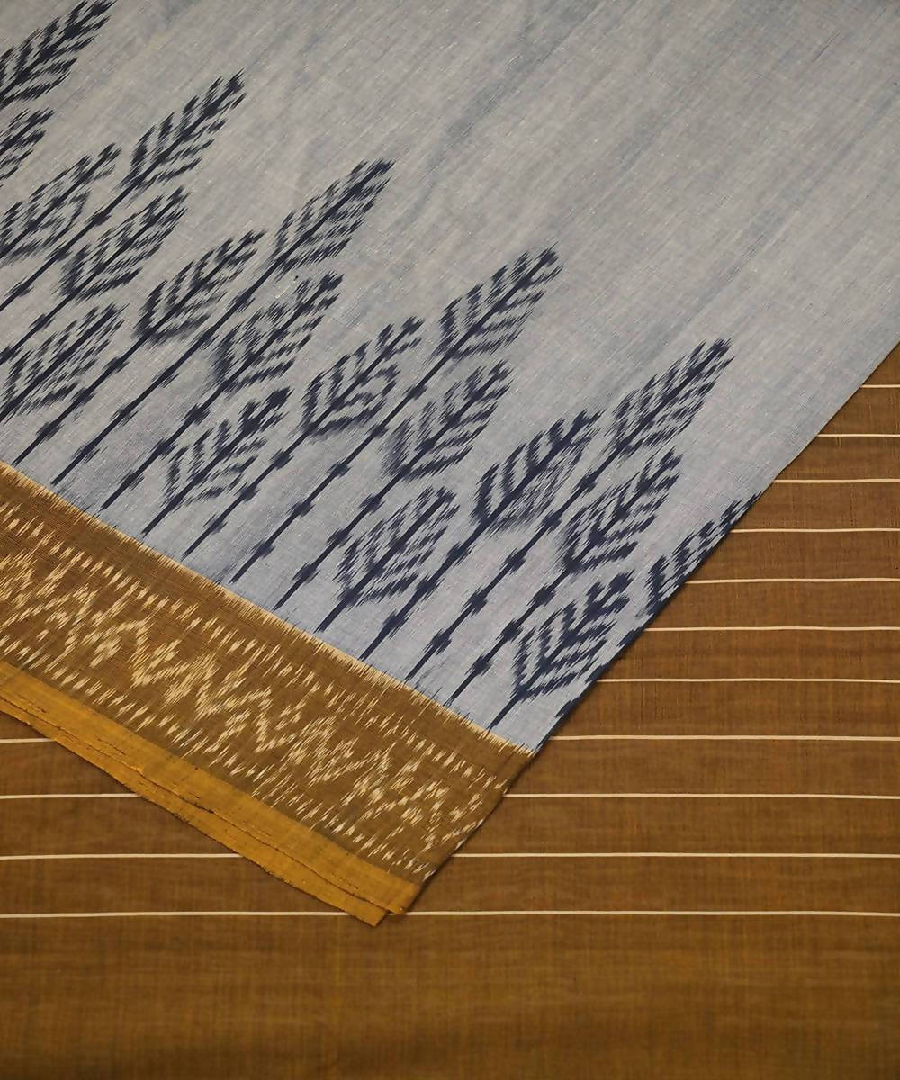 Grey Brown Handloom Pochanpally Ikkat Cotton Saree