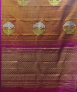 Brown Peacock Butta Work Handloom Silk Saree
