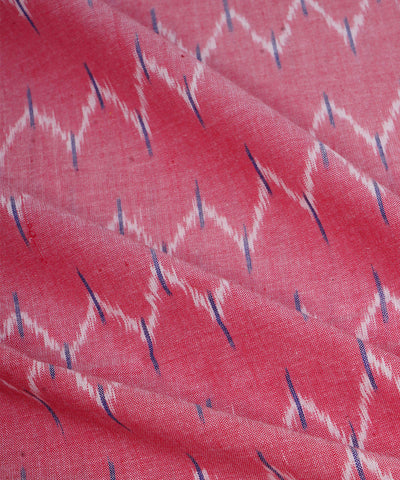 Handwoven Light Pink Ikkat Cotton Fabric