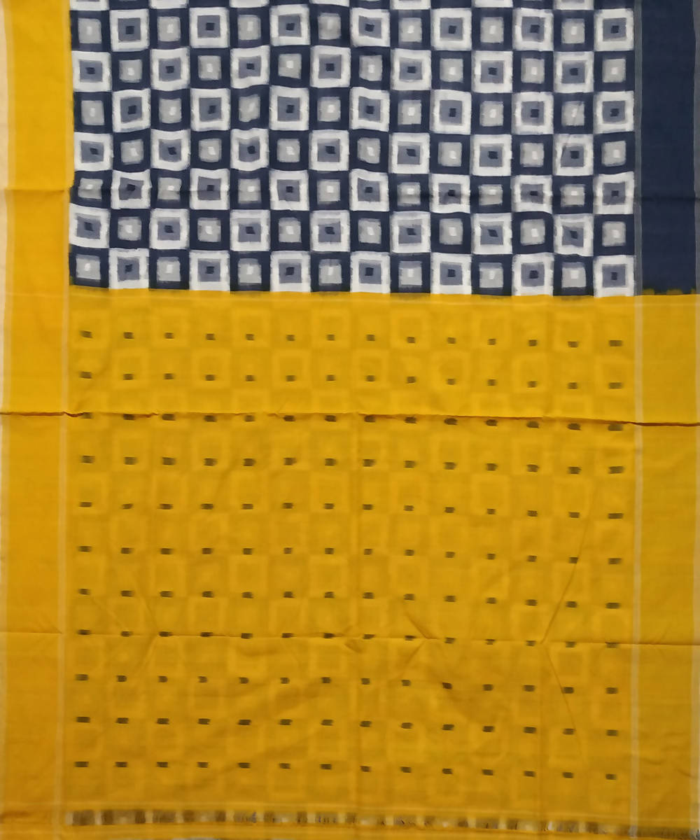 Black White and Yellow Pochampally Ikkat Handwoven Cotton Saree