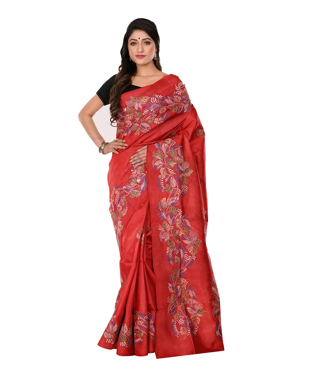 Kantha Hand stitch Red Silk Saree