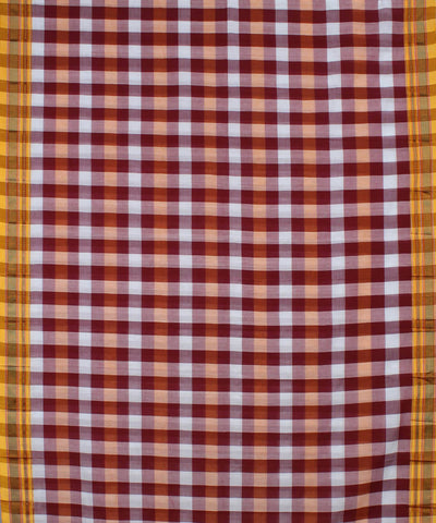 Purple White Checks Handloom Ilkal Saree