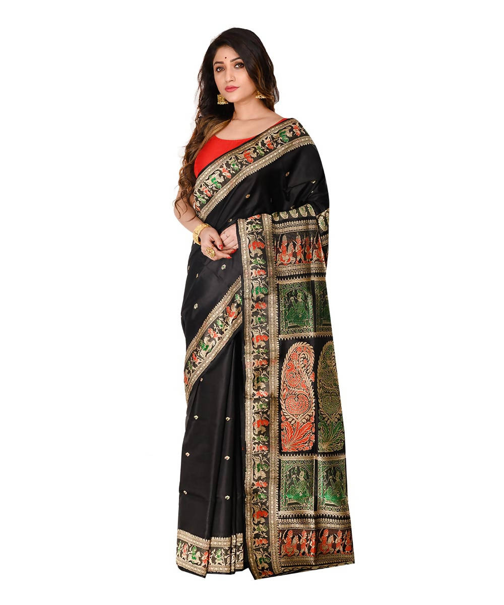 Bengal handwoven black baluchari silk saree