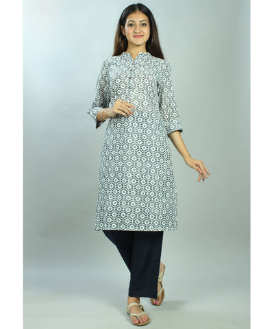 Off white and blue handblock printed cotton kurti