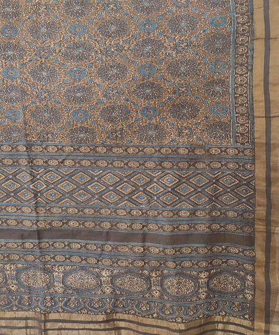 grey and blue Ajrakh Handblock on beige Handloom Cotton zari Saree