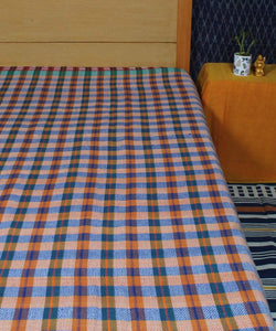 Brown Green Checks Handloom Cotton Bed Cover