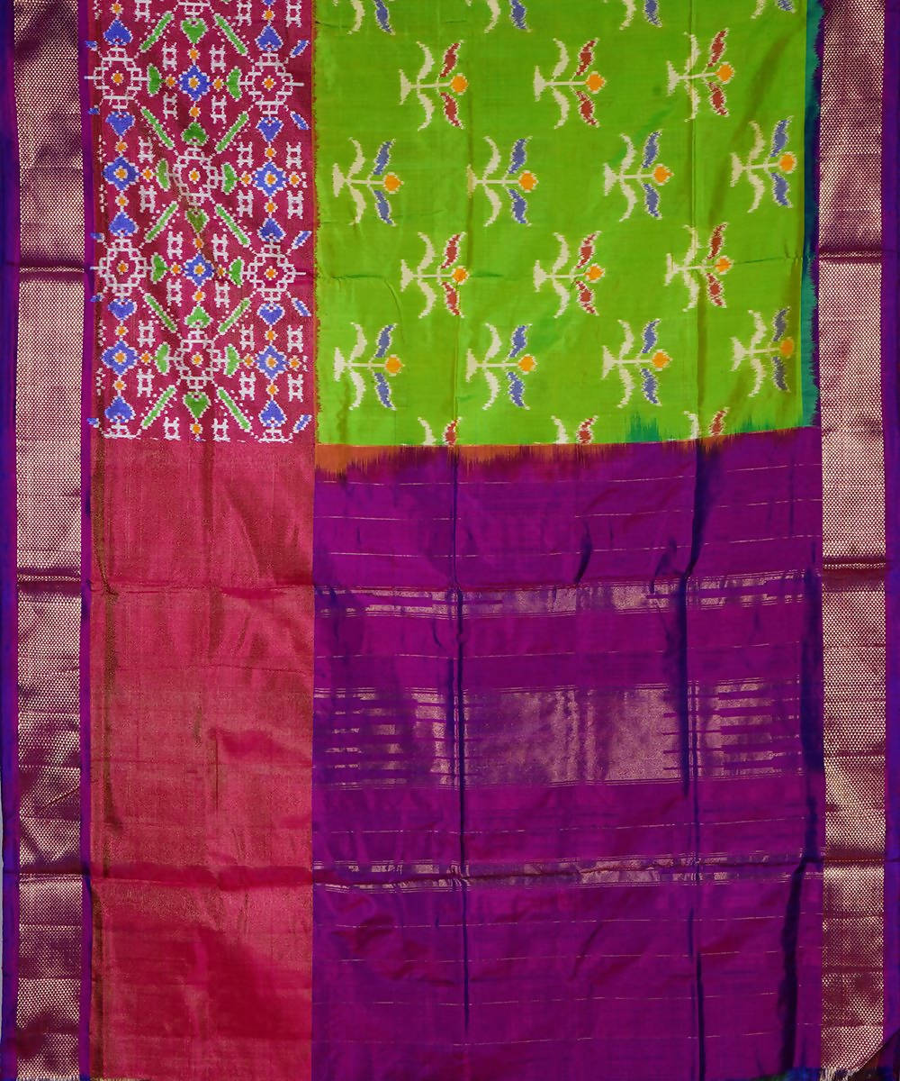 Green Purple Handloom Ikkat Silk Saree